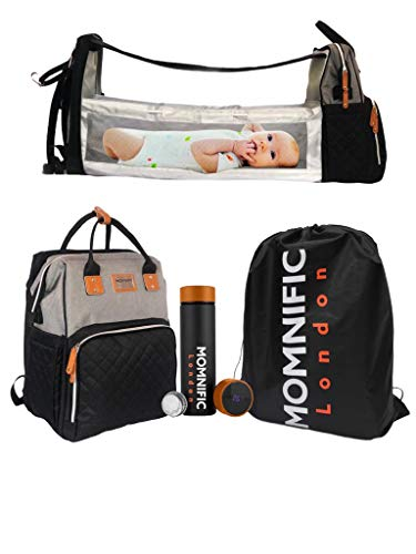 MOMNIFIC All-in-one Diaper Bag Backpack with Foldable Cot Bed & Smart Water Bottle/Multifunctional Stylish Baby Bag with Crib Infant Sleeper, Travel Bassinet, Changing Station & Digital Thermos.