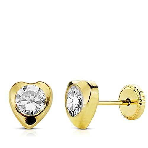 Orecchini in oro 18 carati cuore 7 mm. Pressione del saggio