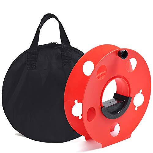 Homeon Wheels Cord Storage Reel with Center Spin Handle Easy to Use with Carrying Bag 165-Feet Red