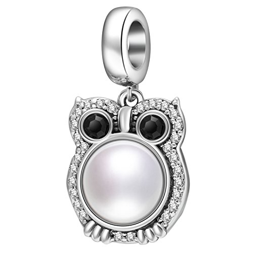 Wise Owl Charms Pendant with Freshwater Pearl Solid 925 Sterling Silver Lucky Animals Bead for Beacelet Necklace