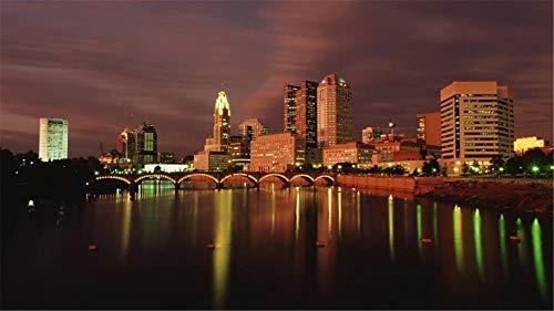 Nobranded Stichsäge 1000 Teile Stichsägen Für Erwachsene Puzzel Columbus Ohio In Der Abenddämmerung Stichsägen Für Kinder & Freund