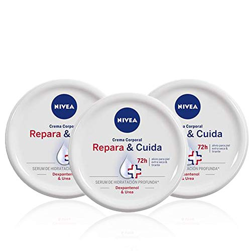 NIVEA Repara & Cuida Crema Corporal en pack de 3 (3 x 300 ml), 72 horas alivio para el cuidado de la piel muy seca, crema hidratante con sérum, crema reparadora
