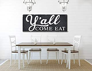 CELYCASY Y'all Come eat Farmhouse Decor Fixer Upper Sign Custom Kitchen Sign Dining Room Rustic Farmhouse Sign Distressed Wood Style Framed Sign