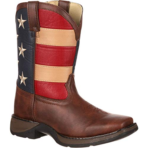 Durango Kids BT245 Lil' 8 Inch Patriotic,Brown/Union Flag,13 Little Kid