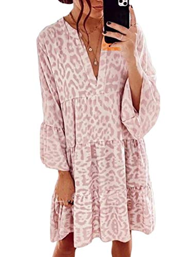 ORANDESIGNE Damen Kleider Strandkleid Boho Tunika Sommerkleid V-Ausschnitt Blumenkleid Lose A-Linie 3/4-Arm Tunika Mini Kleider C Rosa M