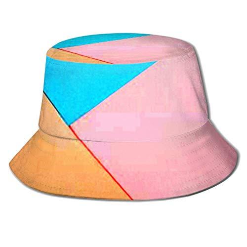 jenny-shop Abstrakter geometrischer Papierhintergrund Blau Rosa Sommer-Angelausflug Sonne Packbare Fischerkappe Sonnenhut Eimerhut Angelkappe
