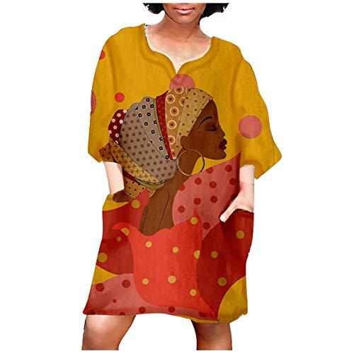 MEITING Damen Kleid Tops Retro African Elements Print Sweatshirt Personalisiertes T-Shirtkleid Rundhals Kniekleid Große Größe Lose Oberteil Tunika Cool Girl