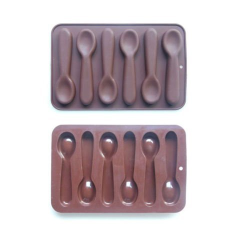 Molde de Silicona con Forma de Cuchara para Chocolate, Caramelos, Pasteles