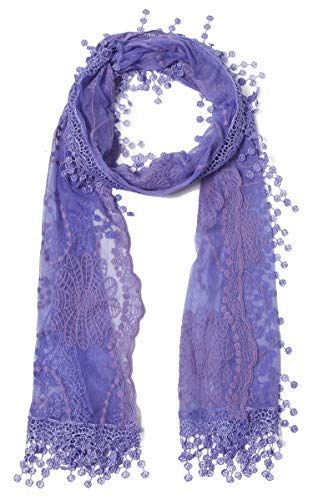 Women's lightweight Feminine lace teardrop fringe Lace Scarf Vintage Scarf Mesh Crochet Tassel Cotton Scarf for Women,One Size,Lavender