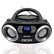 Portable top-loading CD player for Home - Enjoy your favorite CDs or personally recorded CD-R and CD-RW discs, including those with MP3 files. The Repeat function helps you to play one track, all tracks, or random/shuffle mode. FM Radio & Bluetooth C...
