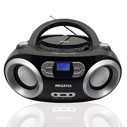 Megatek CD Player Boombox, Portable Bluetooth FM Radio Stereo Sound System with Crystal-Clear Sound and Enhanced Bass, MP3 Playback, USB Port, AUX Input, Headphone Jack, LCD Display, AC/DC Operated