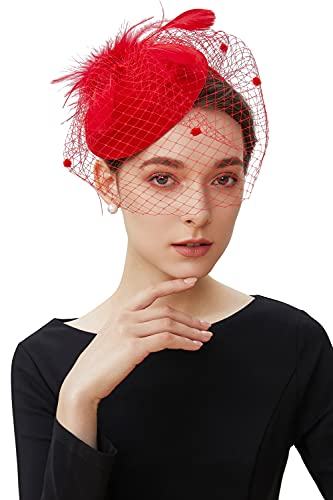 BABEYOND Women's Fascinators Hat Hair Clip Pillbox Hat Tea Party Fascinator Hat with Veil Headband for Cocktail Wedding Hair Accessories (Red)