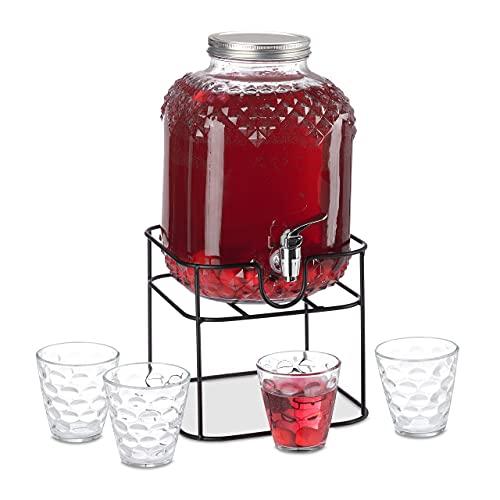 Relaxdays Getränkespender Set, Glas Wasserspender 6 L, 4 Trinkgläser, mit Ständer, Saftspender mit Zapfhahn, transparent, 10037677