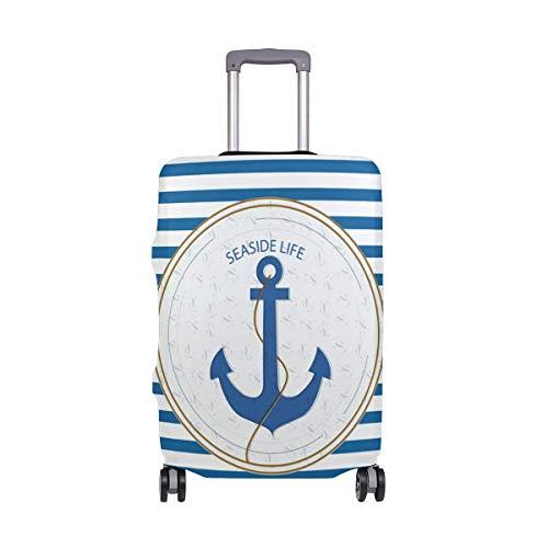 Maleta de Viaje de Ancla náutica Azul Blanco Stipe con Ruedas giratorias Maleta de Equipaje de 24 Pulgadas