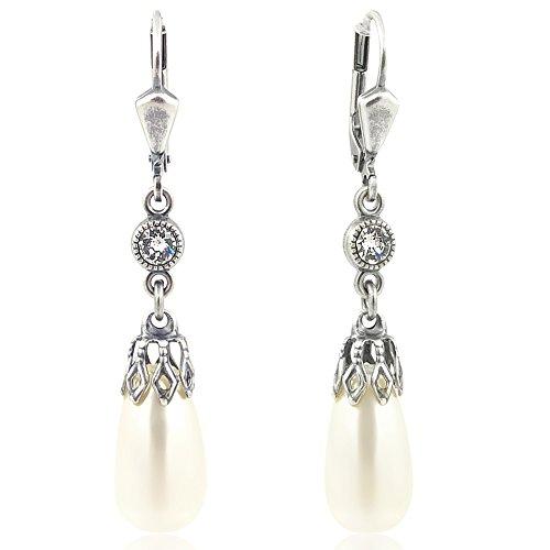 Perlen-Ohrringe mit Kristallen von Swarovski® Silber Creme NOBEL SCHMUCK