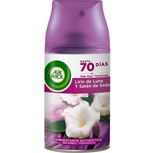 Air Wick Freshmatic - Recambio de Ambientador Spray Automático, Esencia para Casa con Aroma A, Negro, Lirio de Luna y Satén de Seda