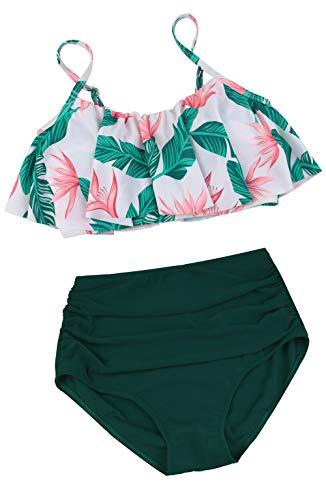 Angerella Green High Waisted Bikini Two Piece Flounce Ruffled Swimsuits Beach Retro Swimwear,2XL