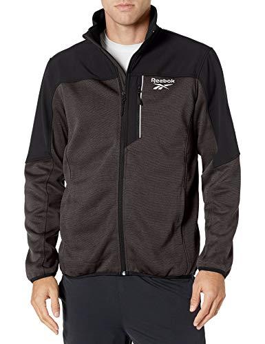 Reebok Men's SWAK Jacket with Soft Woven, Char HTHR/BLK, XL