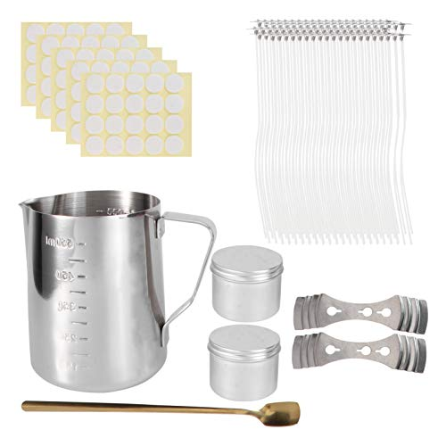 VILLCASE Candle Making Kit with Candle Making Pouring Pot Candle Wicks Candle Tin 3- Hole Candle Wick Holders Candle Wick Stickers Spoon for DIY Candle Making