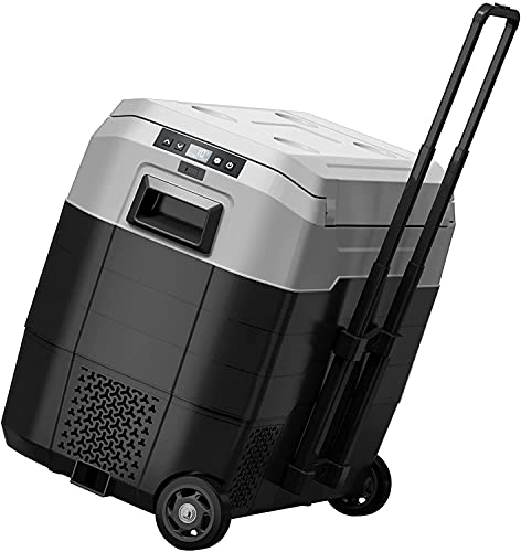 Portable Car Freezer with Wheels, 55 Quart Car Refrigerator with Telescopic Handle, -4°F~50°F 12V/24V RV Fridge Cooler Compact Compressor Fast Cooling,Indoor Outdoor Use for Car,Truck,Camping,Home