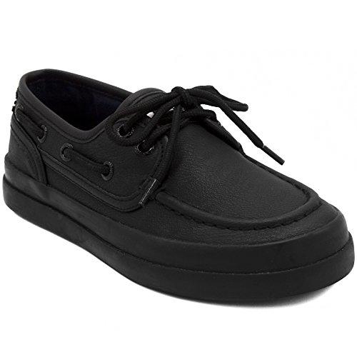 Nautica Kid's Spinnaker Youth Boat Shoe Casual Loafer 2 Eye Lace Little Kid Big Kid-Spinnaker-Allover Black-2