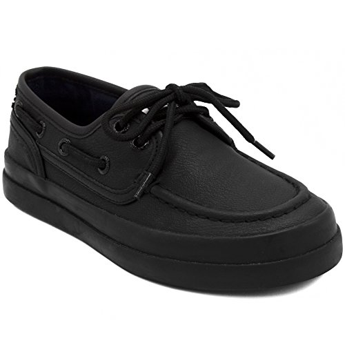 Nautica Kid's Spinnaker Boat Shoe Casual Loafer 2 Eye Lace-Allover Black-3