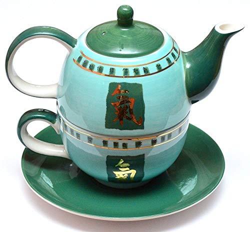 Prettea - Tea for one, Set da tè composto da 3 pezzi con teiera e tazza in porcellana, servizio da tè
