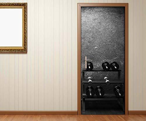 Türaufkleber schwarz weiß Fitness Hanteln Boxsack Sport Kat8 retro Tür Aufkleber Bild Türposter Türfolie Druck selbstklebend 15B1134, Türgrösse:67cmx200cm