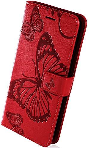 Herbests Kompatibel mit Leder Handy Schutzhülle Motorola Moto G5S Lederhülle Schmetterling Muster Leder Handyhülle Handytasche Brieftasche Ledertasche Bookstyle Flip Hülle Cover Klapphülle,Rot