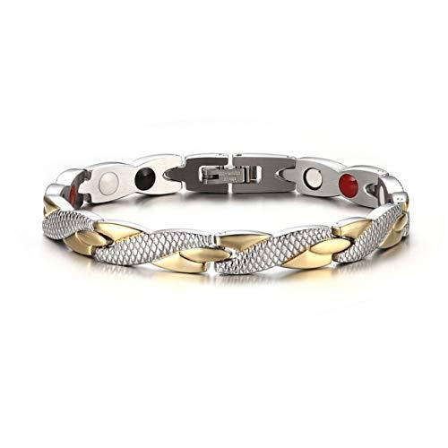 Pulsera magnética saludable trenzada de moda para mujeres, hombres, imanes de terapia, pulseras, brazaletes, joyería fina, el mejor regalo - plata y oro
