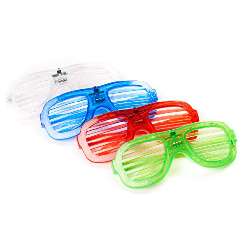 12 LED Partybrillen, Sonnenbrille Leuchtspielzeug, Leuchten Brille| 3 Blinkmodi, 4 Farben, Ein/Aus-Taste| Kindergeburtstag Mitgebsel Mitbringsel Gastgeschenke Neon Disko Rave Halloween Weihnachten.