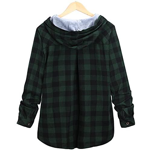 Blusa a cuadros de manga larga con botones, camisa con capucha, informal, tallas S-XXL, verde-1, XXXXL