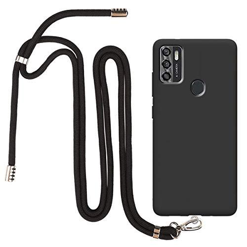 """SCDMY Handyhülle für ZTE Blade A7s 2020 Hülle + Handy Lanyard Strap, Schlüsselband Handy Halsband Handykette, Weich Black Schutzhülle Schutz Silikon Case TPU Schale (6.5\"""")"""