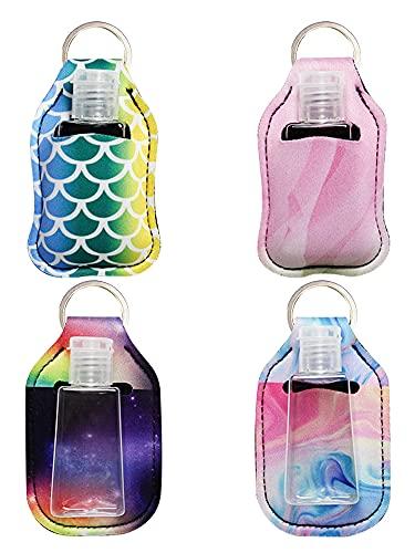 Reiseflaschen Set, Reisegröße Flasche mit Schlüsselanhänger-Halter, wiederverwendbar, tragbar, mit Klappdeckel, Flaschenset für Outdoor-Aktivitäten Reisen und Schulbedarf (B)