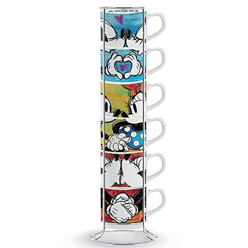 Egan PWM02I/6XL Espresso tassen-Set Sweet Love und Metalrack, Porzellan, mehrfarbig, 6 Stück