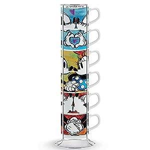 Egan PWM02I/6XL Juego de tazas de café, modelo Sweet Love y Metalrack, porcelana, multicolor, 6 unidades
