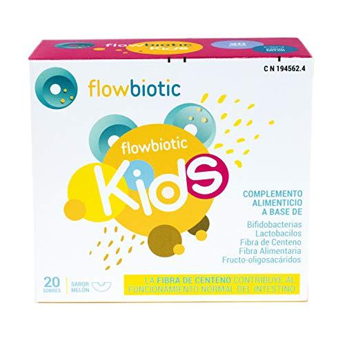 Probiótico y Prebiótico Flowbiotic Kids - 20 sobres - Regularidad Intestinal - Ayuda a combatir el estreñimiento infantil mediante la modulación de la función intestinal