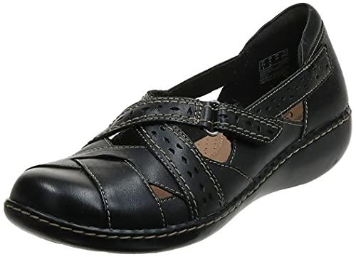 Clarks Women's Ashland Spin Q Slip-On Loafer, Black, 8 W US