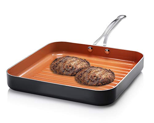 """4. Gotham Steel Grill Pan – 10.5"""" Square Aluminum Grill Pan with Nonstick Surface,"""