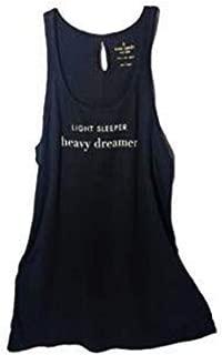 Kate Spade Sleeveless Night Sleep Shirt Light Sleeper, Heavy Dreamer Small $58 Black