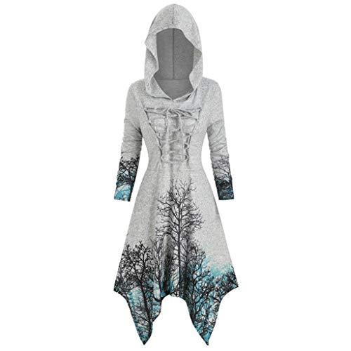 Auiyut Damen Steampunk Kleid Drucken Vintage Mantel Mittelalter Kostüm mit Kapuze Renaissance Pullover Lange Umhang Große Größen Party Kleider Unregelmäßiger Saum
