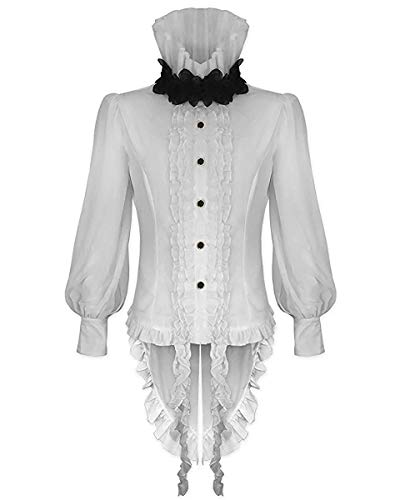 Devil Fashion Hombre Vampiro Gótico Camisa Top Blanco Steampunk Vintage...