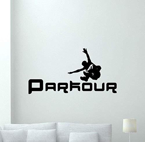 Parkour Poster Wandtattoo Schlafzimmer Extremsport Vinyl Aufkleber Fitnessstudio Dekor Kunst Wandbild Abnehmbare Jungen Zimmer Aufkleber Wallpaper 110X57Cm