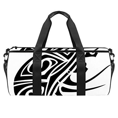 Bolsa deportiva de 45,72 cm, bolsa de viaje con compartimento de bolsillo húmedo para hombres y mujeres, ligera, hipocampo animal tatuaje