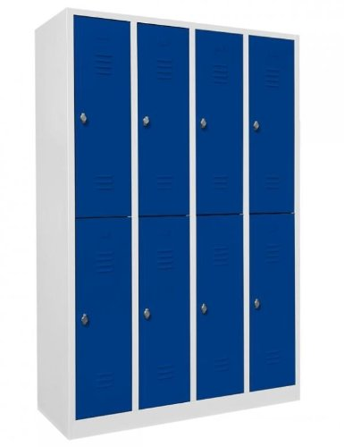 Schließfachschrank Wertfachschrank Fächerschrank Spind Umkleideschrank 8 Fächer-Spint 520241 blau Maße:1800 x 1170 x 500 mm (Höhe x Breite x Tiefe) kompl. montiert und verschweißt