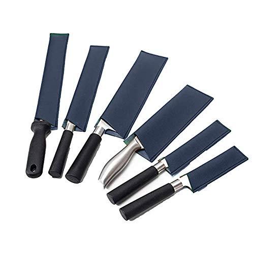 Qees Messerhüllen aus Leder, 6 Stück, strapazierfähig, wasserfest, Messerschutz, Küchenbesteck und Messerzubehör blau