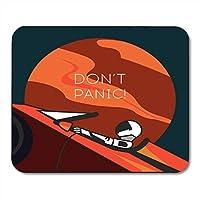 キャッチフレーズドン'tスペースでマウスパッドブルー宇宙飛行士テスラロードスターのスターマンスーツのパニックノートブック、デスクトップコンピューターオフィス用品の赤いマウスパッドを出荷