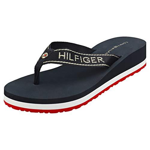 Tommy Hilfiger Metallic Mid Wedge Beach Sandal, Sandalias con Punta Abierta para Mujer, Rojo (RWB 0kp), 39 EU