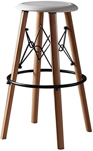 Dims Taburete alto práctico sillas altas de madera maciza taburetes de bar sillas altas cocina pub desayuno taburetes asiento plástico