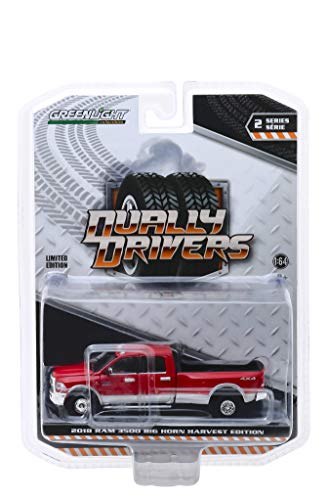 Dodge 2018 Ram 3500 4x4 Big Horn Pickup Truck Harvest Edition Red Dually Drivers Series 2 1/64 Diecast Model Car by Greenlight 46020 D